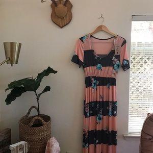 Coral/Grey Maxi Dress